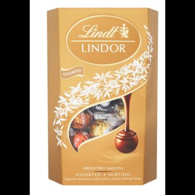 Lindt Lindor Assorted tejcsok.golyók díszdob.200g/8/
