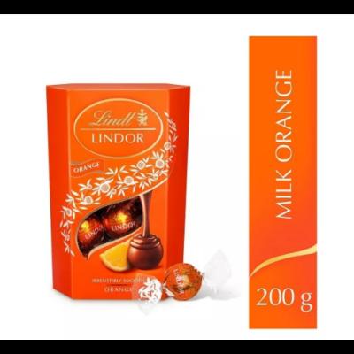 Lindt Lindor Orange tejcsok.golyók díszdob.200g/8/