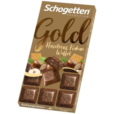 Schogetten Gold Tejcsokoládé Nugátkrémmel és Mogyoróval 100g